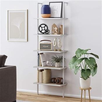 5-Shelf Wood Ladder Bookcase with Metal Frame, Industrial 5-Tier Modern Shelf Shelves,White