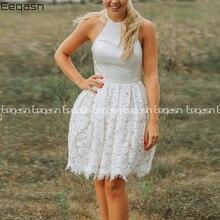 Elegant Lace Short Cocktail Dress 2020 Halter Back Open A-li