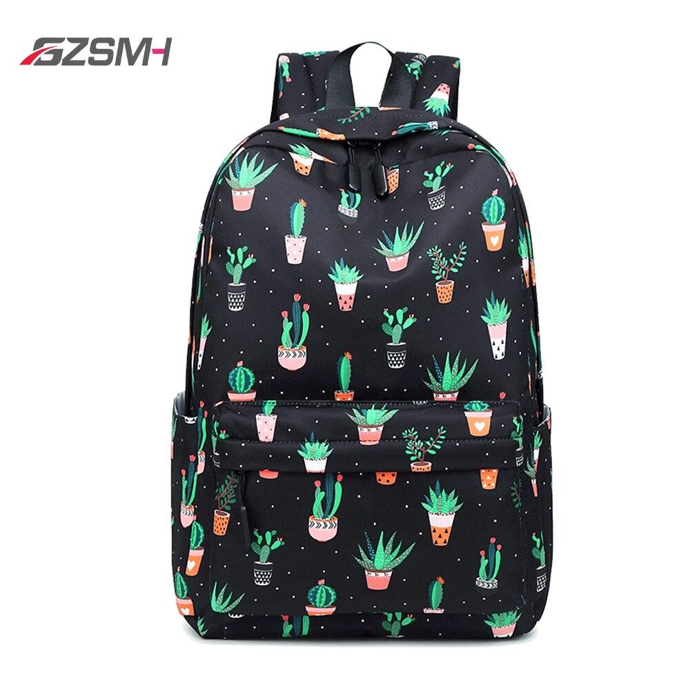 Waterproof Backpack Black Girls Lightweight Cactus Rabbit Printing Backbag Women Middle College School Student White Book Bag