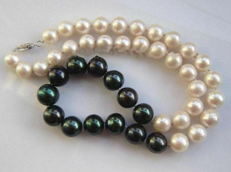 Потрясающий ААА 9 10 мм натуральный черный с белым жемчугом ожерелье 18 36