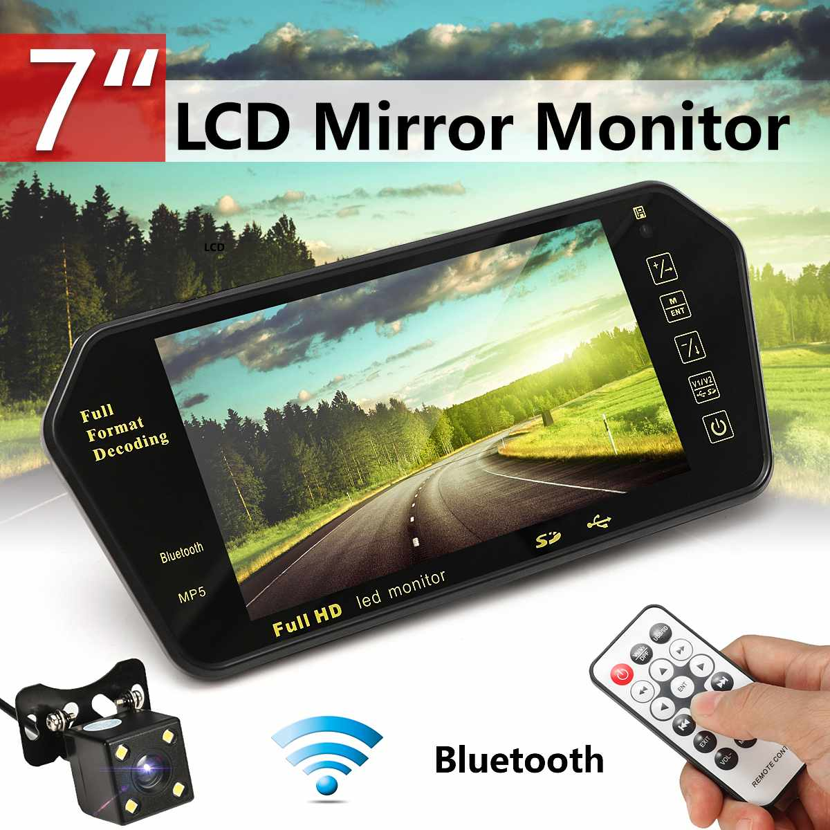 Car <font><b>7</b></font> <font><b>Inch</b></font> Rear View LED Display bluetooth With LED Low Light Night Vision Rearview Mirror <font><b>Monitor</b></font> Night Vision Reversing Camera image