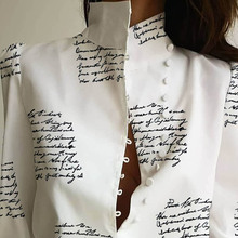 Women Stand Neck Buttoned Blouse Shirt Office Ladies Letter