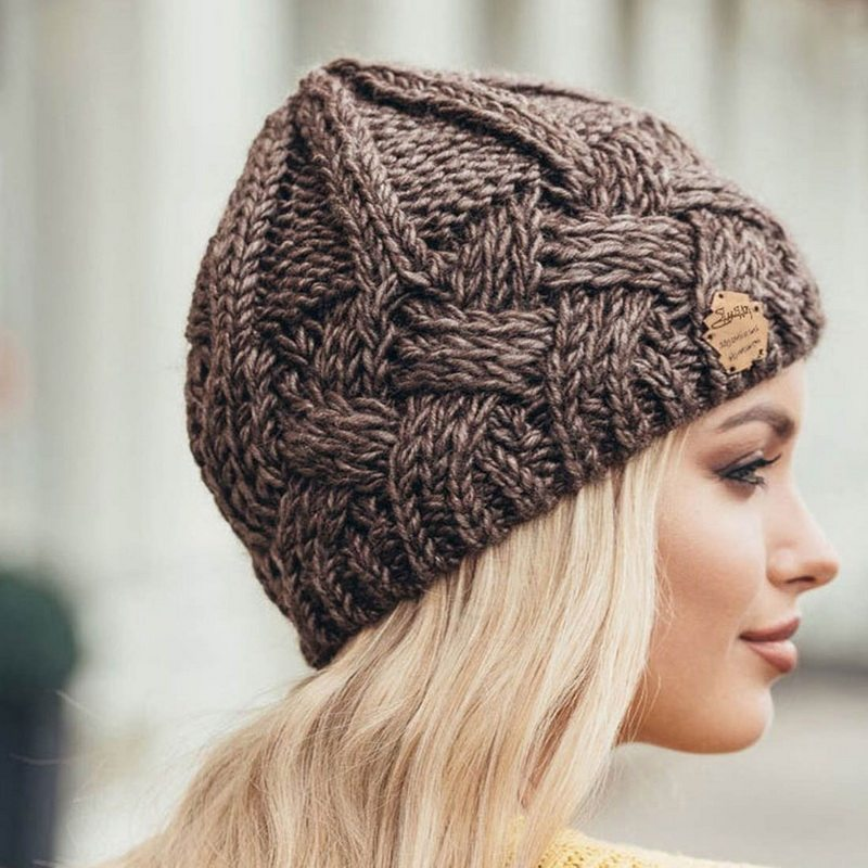 Handmade gray pink Knitted Knit Slouchy Hat Autumn Spring Crochet Beanie Men Women Unisex grey two colours