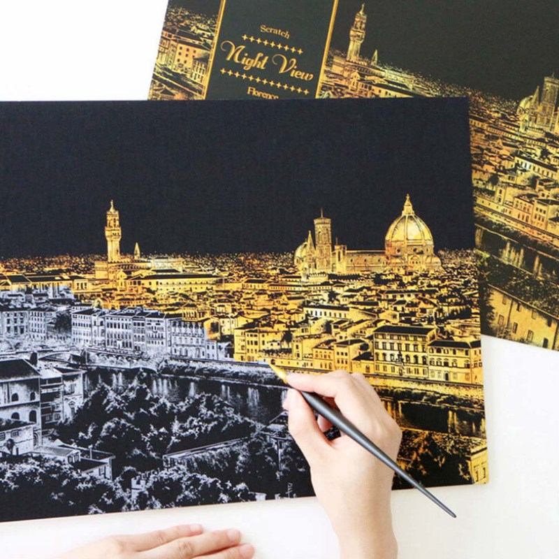 1set Decorative Painting Scratch Scraping Painting Drawing Paper World Sightseeing Pictures Home Decoration Birthday Gifts