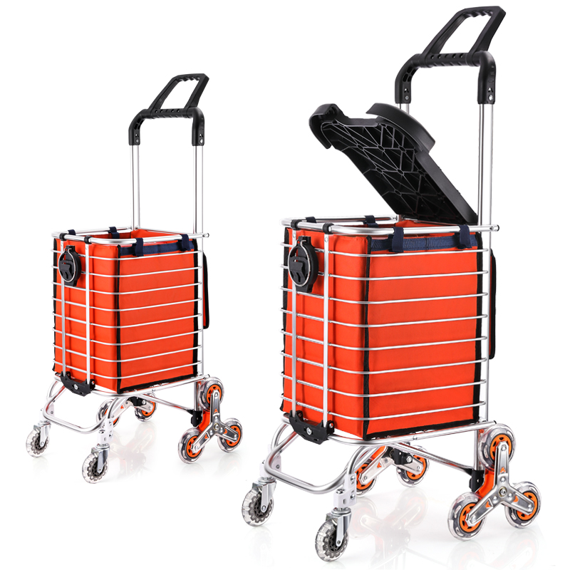 Shopping Cart Aluminum Shopping Cart Small Cart Climbing Stairs Folding Trolley Trolley Car Tow Ropes To Send Inside The Bag