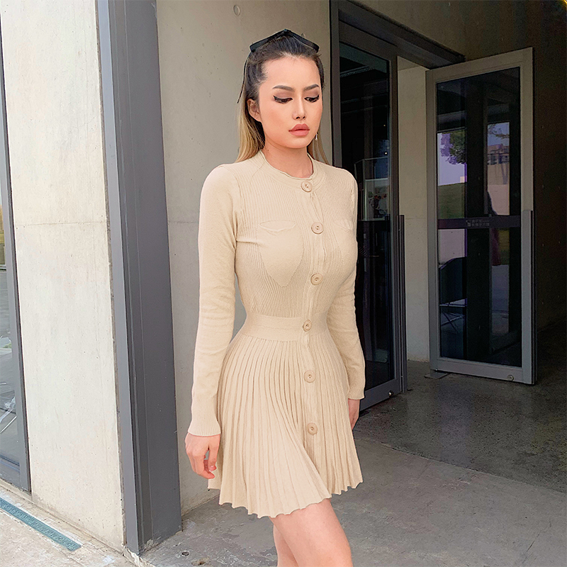 Khaki Knitted Dress (1)