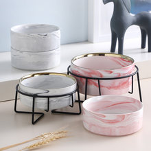 Ceramic Dog Bowl For Pet Cat Puppy Food Water Adjustable Marble Feeder Supplies Drinking Dish Large Cat Accessories #P021