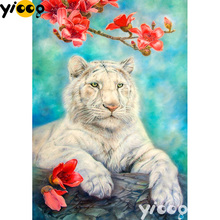 Full Square/Round drill diamond Painting White tiger 5D DIY diamond embroidery mosaic Decoration painting AX0111 full square round drill diamond painting a cup of coffee 5d diy diamond embroidery mosaic decoration painting ax0111