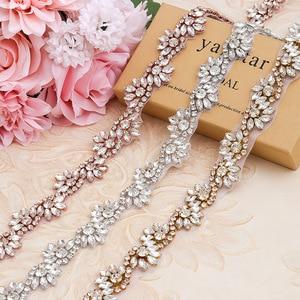 Image 4 - 1 quintal prata/rosa ouro casamento strass applique guarnição cristal frisado acessórios para o vestido de casamento nupcial cinto headpiece sacos