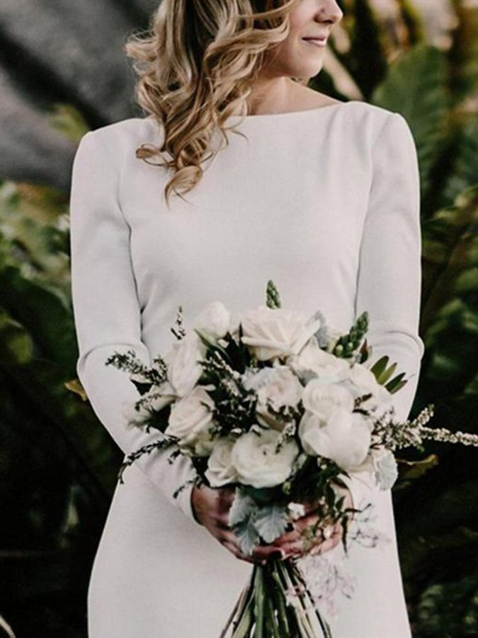 2019 Modest Long Sleeves Satin   Prom     Dresses   Bateau Neck Sweep Train Plus Size Country Bridal Gowns Vestidos De Noiva