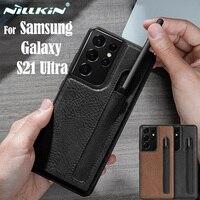 Nillkin-Funda de cuero para Samsung Galaxy S21 Ultra, carcasa de lujo con textura y ranura para bolígrafo, para teléfono Samsung S21 Ultra