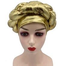 2021 New Already Made African Cap Aso Oke Auto Gele Headtie Turbans For Women Braids Female Head Wraps Bonnet Nigerian Gele