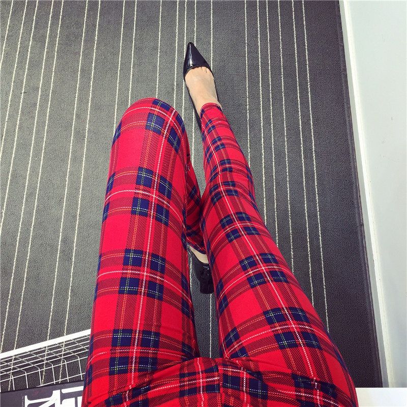 YSDNCHI Fashion Push Up Leggings Women Plaid Print Leggins Workout Legging Polyester Elastic Waist Jeggings Fitness Pencil Pants