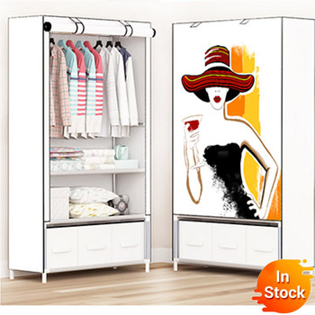 With drawer storage furniture When the quarter wardrobe DIY Non-woven fold Portable Storage Cabinet bedroom furniture wardrobe simple fashion wardrobe non woven fabric steel frame reinforcement standing storage organizer clothes cabinet bedroom furniture