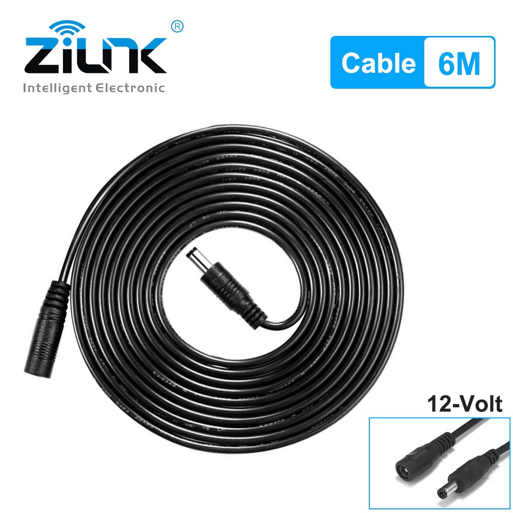 ZILNK Universal 20ft/6 Meters Length Power Extension Cable For Security CCTV Camera DC 12V Power Adapter 5.5x2.1mm DC Plug|Transmission & Cables| - AliExpress