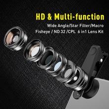 Apexel 유니버설 6 in 1 전화 카메라 렌즈 피쉬 아이 렌즈 와이드 앵글 매크로 렌즈 cpl/스타 필터 2x tele for iphone 삼성 htc lg