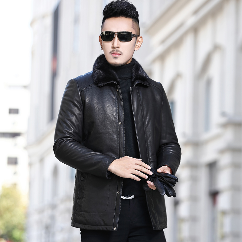 Winter Genuine Leather Jacket Men Real Mink Fur Coat Real Goatskin Leather Coats Mens Mink Jackets Warm A17DN266 KJ3813
