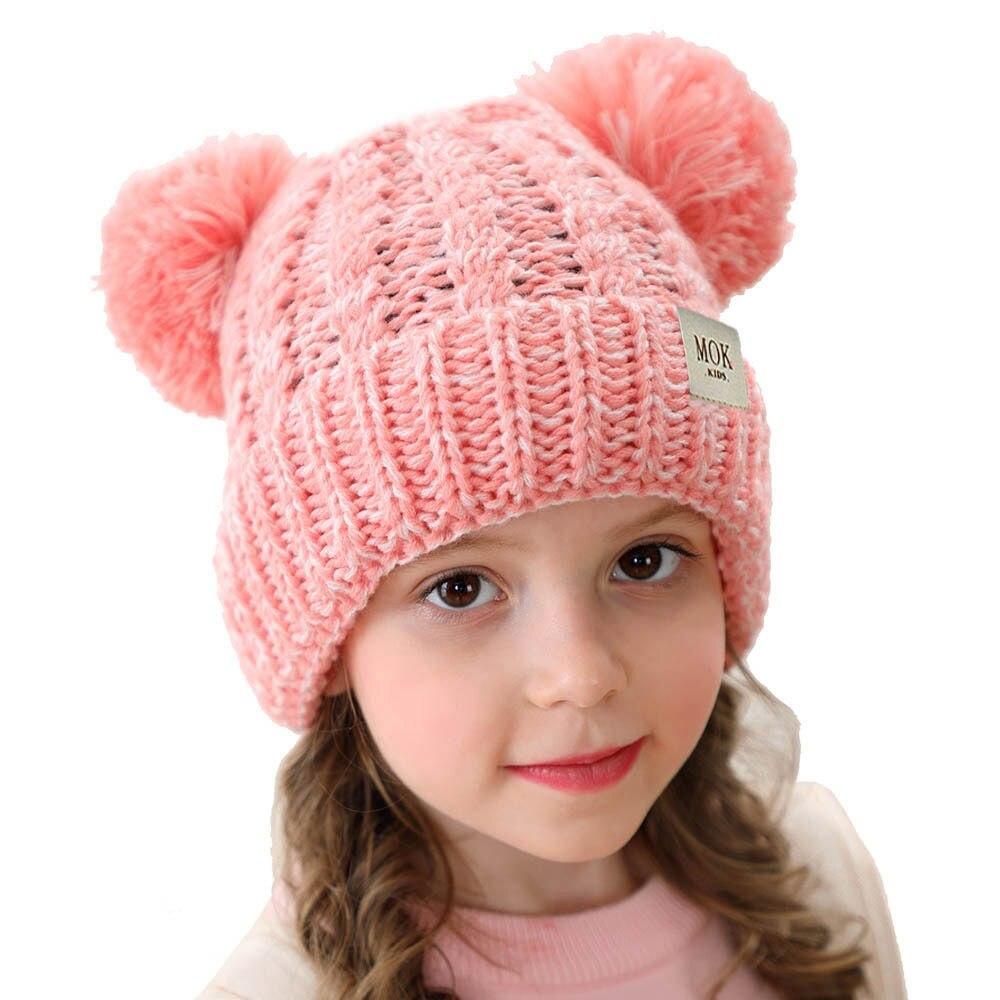 Winter warm stretch knit cap for kids Hat big pompom beanie hats brand ball Pompom hat H199S