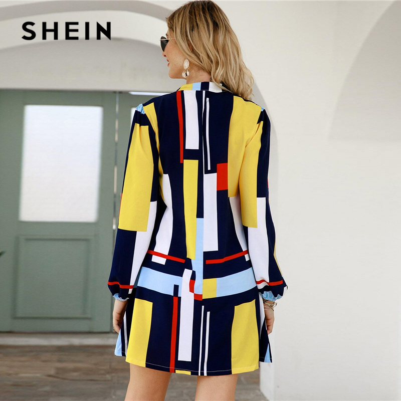 SHEIN Geometric Print Notched Collar Casual Shirt Dress Women Spring Street Wear Long Sleeve Ladies Straight Short Dresses 2