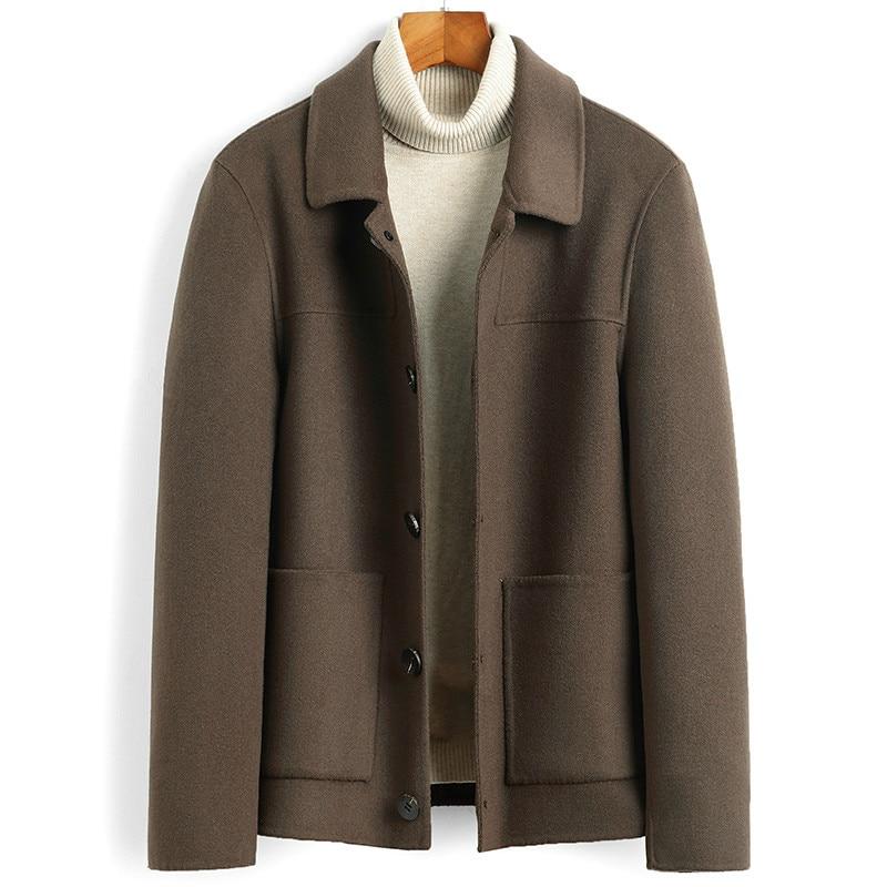 Wool Coat Men Short Double-sided Spring Autumn Woolen Jacket Men's Coats Overcoat Casual Jackets Casaco Masculino 6022 KJ4622