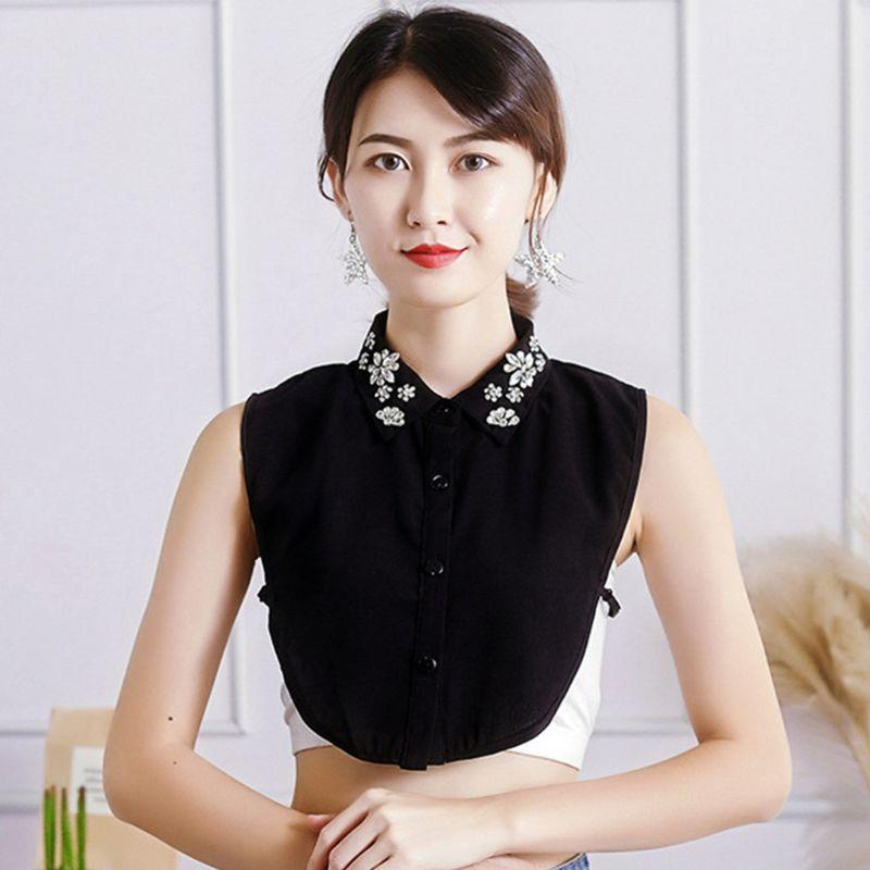 Womens Chiffon Jewelry Fake Collar Crystal Rhinestone Flower Lapel Half Tops