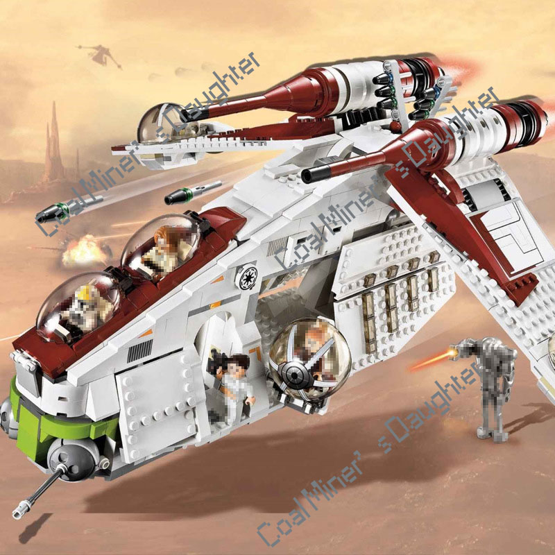 New StarWars Republic Gunship Set Lepining <font><b>Star</b></font> <font><b>Wars</b></font> Building Blocks <font><b>Star</b></font> Plan <font><b>Wars</b></font> Children Toy <font><b>05041</b></font> 75021 image