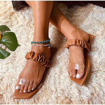 new arrival women summer sandals slippers leisure soft flip flops striped round toe casual shoes high quality beach slippers s Women Slippers Transparent Sandals Plea Ladies Flip Flops 2021 Fashion Square Toe Casual Flats Beach Shoes Woman Summer Footwear