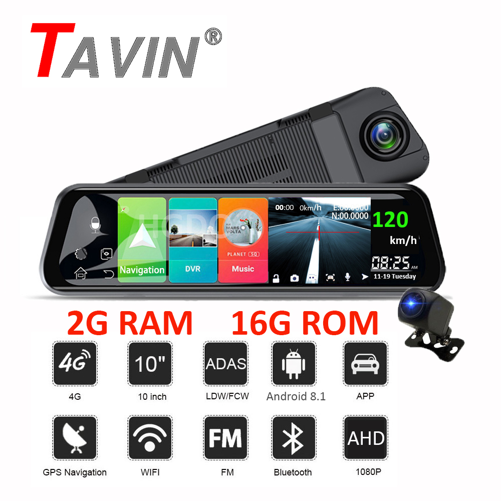 Automobile Video Recorder Android 8.1 Car DVR <font><b>4G</b></font> WIFI <font><b>Dash</b></font> <font><b>Cam</b></font> ADAS GPS Rearview <font><b>mirror</b></font> Dual Lens 1080P 10 Inch Touch Screen image