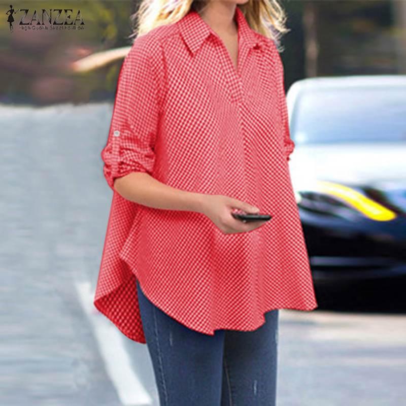 ZANZEA Plus Size Women Plaid Check Blouse Lapel Neck Shirt Casual Loose Cotton Linen Tunic Tops Long Sleeve Blusas Femininas 7