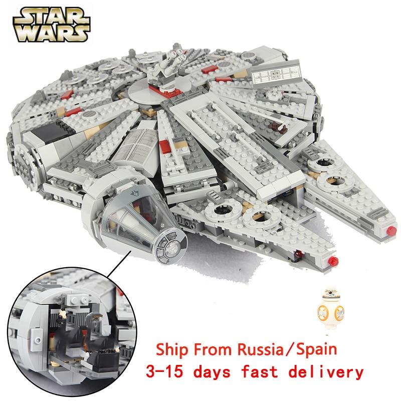 Para legoing star wars força desperta millenary falcon para legoed filme 2 starwars figuras star war espaço navio blocos de construção brinquedo