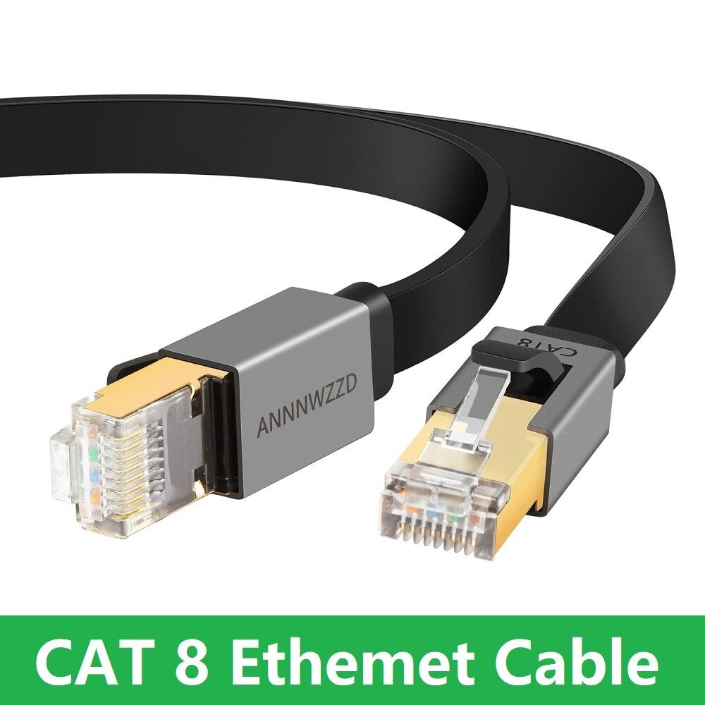 Ethernet-кабель Cat8, 40 Гбит/с, RJ45 Lan-кабель STP RJ 45, плоский сетевой кабель, патч-корд для модема, маршрутизатора, ТВ, коммутационной панели, ПК, ноутбу...