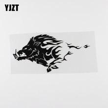 Yjzt 16.9cmx8.4cm javali selvagem irritado porco tribal animal vinil etiqueta do carro preto/prata 13c-0193