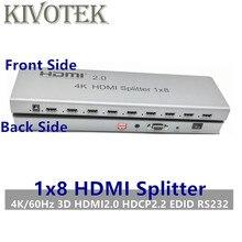 4 K/60Hz Bộ Chia Tín Hiệu HDMI 1X8 chia 1 Trong 8 Ra HDMI Cổng Kết Nối, Đực Adapter, Full 1080 P, 3D EDID/RS232 Điều Khiển Cho Digita HDTV