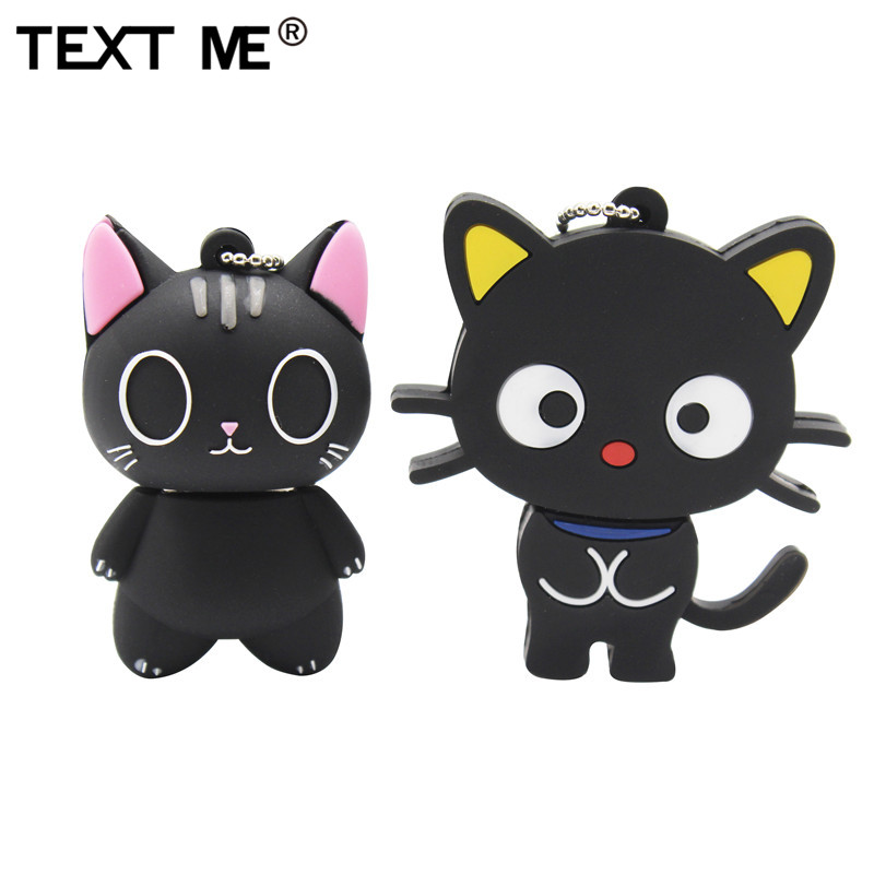 TEXT ME Cute Cartoon Black Cat  Usb2.0 64GB  Usb Flash Drive Usb 2.0 4GB 8GB 16GB 32GB  Pen Drive
