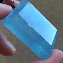 Natural Blue Aquamarine Rectangle Pendant Clear Stone Women Man Love Party Lucky Gift 36x27x11mm Fashion Necklace Pendant AAAAA