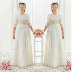 Шифоновое кружевное платье с коротким рукавом для первого причастия для девочек; Платья с цветочным узором для девочек на свадьбу; празднич...