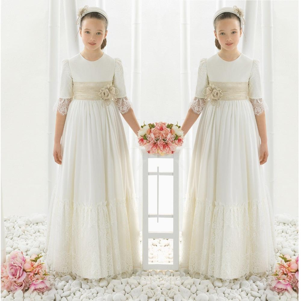 Chiffon Lace Half Sleeve First Communion Dresses For Girls Flower Girl Dresses For Weddings Girls Pageant Birthday Dresses