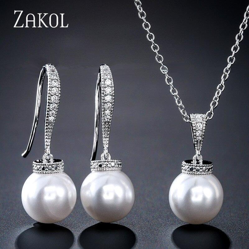 Simulated Pearl Drop CZ Necklace Earring Bracelet Wedding Bridal Jewellery Set