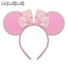 ncmama PINK Mouse Ears Hairband for Girls Cute Cartoon Bow with Pearls Velvet Headbands Hair Hoop Party Kids Accessories