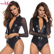 Black Mesh Long Sleeve Faux Leather Bodysuit Zipper Women Plus Size 4XL PU Body Feminino Sexy Clubwear Party PVC Bodysuits(China)