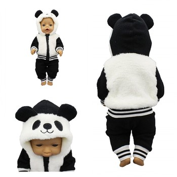 Born New Baby Fit 17 Inch 43cm Doll Clothes Accessories Three Pieces of Black White Panda Suit For Baby Birthday Festival Gift