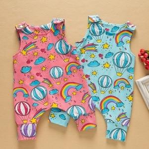 Новинка 2020 года; Одежда для маленьких мальчиков и девочек; Короткий и длинный комбинезон без рукавов с цветочным рисунком; Комбинезон с изоб...