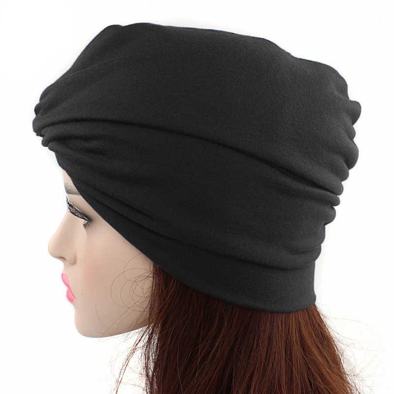 2019 moda hijabs musulmanes para mujer algodón India gorra turbante cruzado Beanie bufanda señoras bandas elásticas para el cabello accesorios para el cabello