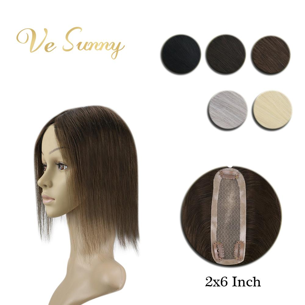 VeSunny Crown Hairpiece Mono Base Topper Real Human Hair Hand Made Toupee With 3 Clips 2x6 Inches Solid Color Black Brown Blodne