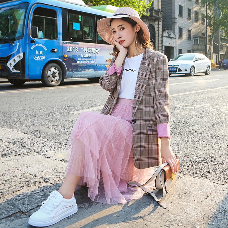 Plaid Stylish Ladies Blazer Solid Pink Casual Loose Suit Jacket Long Sleeve Korean Retro Autumn Women Blazer Large Size MM60NXZ