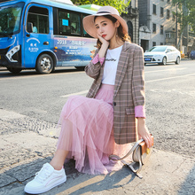 Plaid Stylish Ladies Blazer Solid Pink Casual Loose Suit Jacket Long Sleeve Korean Retro Autumn Women Blazer Large Size MM60NXZ