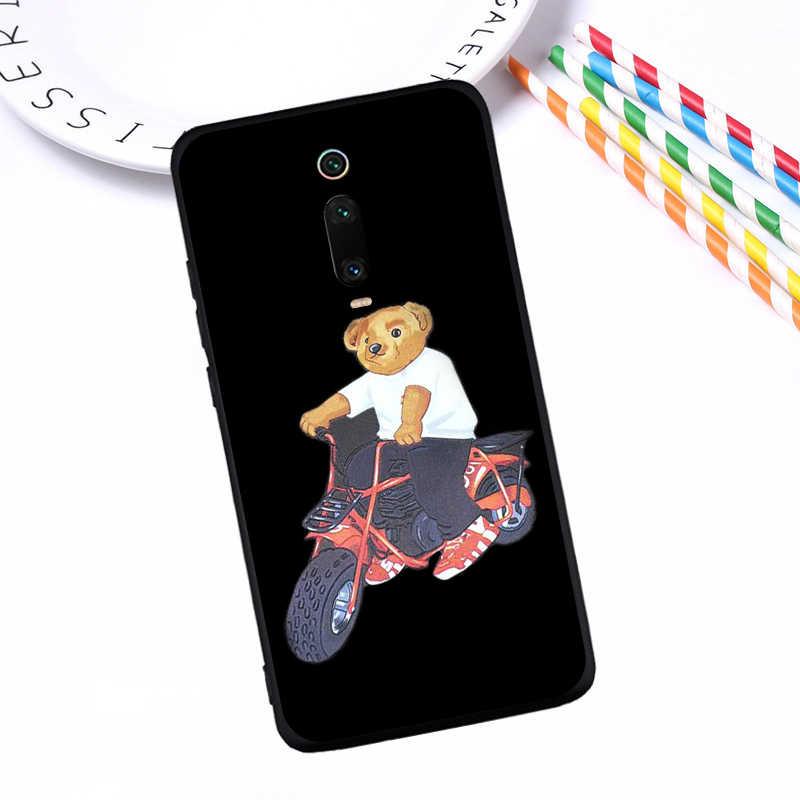 Cartoon słodki miś włochy luksusowe dla Xiao mi 9T czerwony mi uwaga 5 6 7 8 K20 9T Pro przypadku telefonu miękkiego silikonu TPU coque tylna okładka etui
