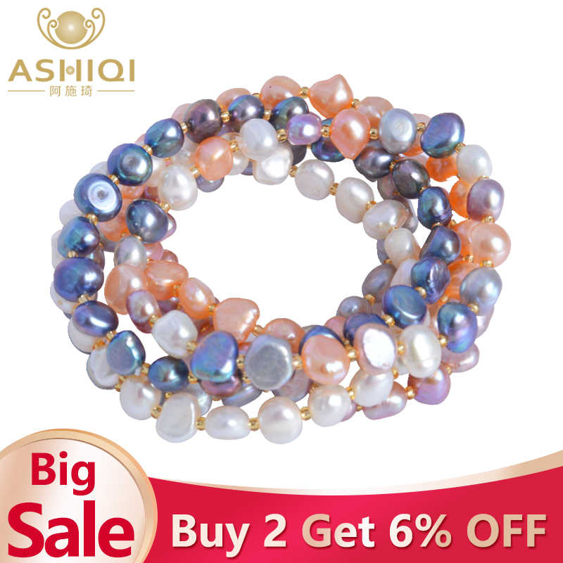 ASHIQI Real Natural Freshwater Baroque Pearl Bracelets & Bangles For Women Multi Color Crystal Beaded Jewelry Gift