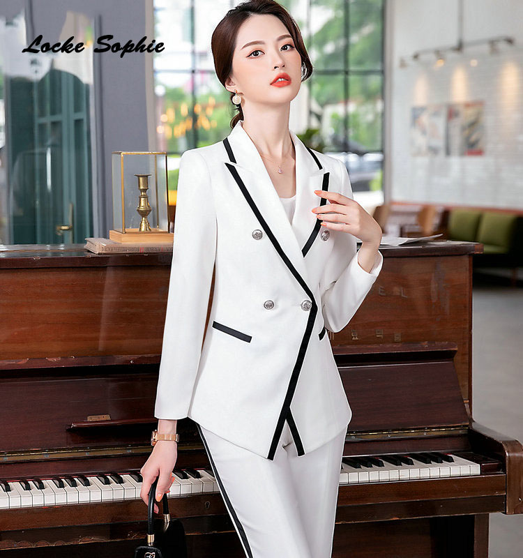 Women plus size Slim fit Blazers coats 2020Winter cotton Double-breasted Splicing Small Suits jackets ladies Skinny Blazers Suit