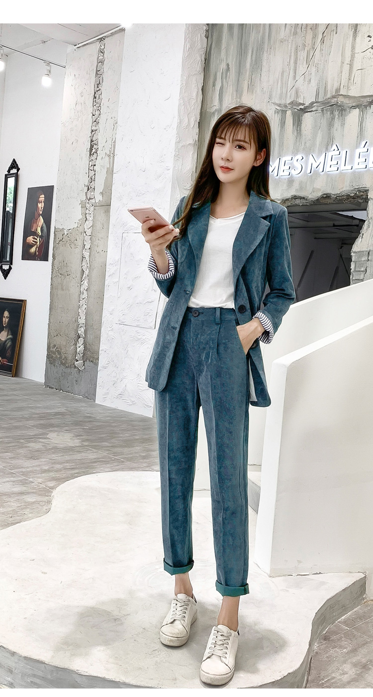 Autumn Winter Blazer Pants Suit Women Korean Chic Fashion Office Ladies Green Corduroy Casual High Waist Small Feet Pants Suit 51